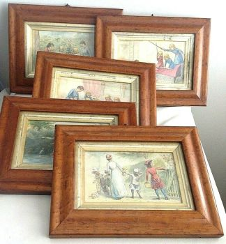 Antique set of 5 late Victorian paintings nursery pen ink & water colour