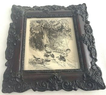 Antique Monochrome engraving or pen & ink picture children and dog