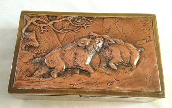 Antique copper & brass cigar box wild boar embossed decoration