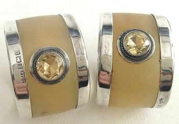 Antique carved horn & sterling silver Citrine napkin rings pair C1911