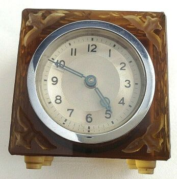 Antique Art Deco Amber glass clock French or Czech nude riding a fawn decoration