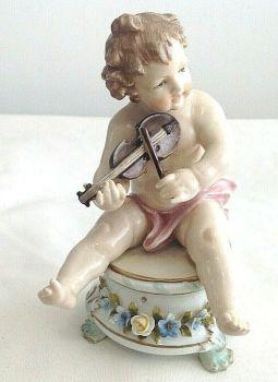 Antique ceramic cherub cherubs German figure blue crown over N mark