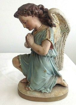 Antique painted nativity kneeling praying angel figure