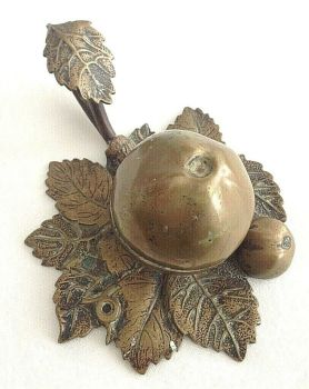 Antique brass ink well in the shape of a pomegranate or apple original liner
