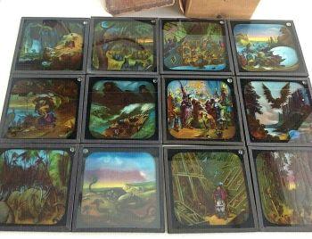 Antique best English made Sinbad magic lantern slides set in box