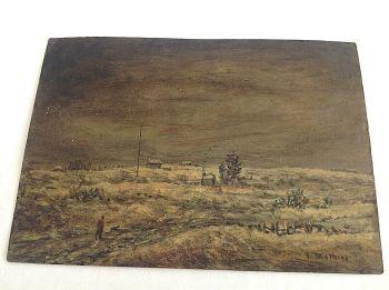 Antique oil painting signed Mathias on board winter landscape WW1 interest