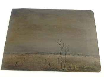 Antique oil painting signed Mathias on card figures and landscape WW1 interest