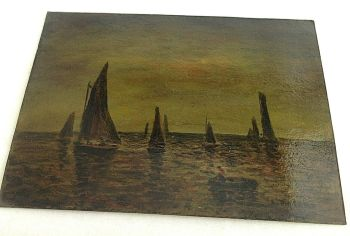 Antique oil painting signed Mathias on board sea scape sailing boats