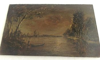 Antique oil painting signed Mathias on board river scene WW1 interest