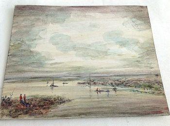 Antique oil painting signed Mathias on board lake scene boats WW1 interest
