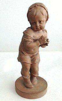 Antique terracotta signed figure of a child Secorney Palais Royal label