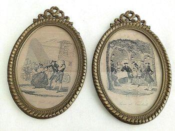 Antique Georgian engravings pair George Crookshanks Blear eyed Moll Vauxhall