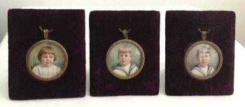 Antique portrait miniature painting x 3 signed B George