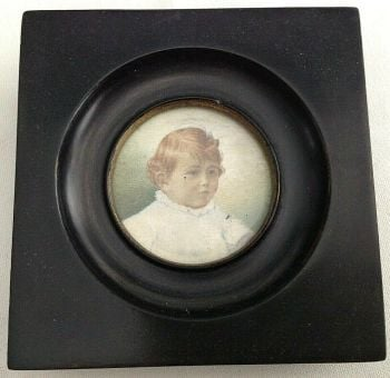 Antique portrait miniature painting little girl with hair ribbon