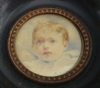 Antique portrait miniature painting blue eyed child signed D S 1920