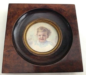 Antique portrait miniature painting little blue eyed child