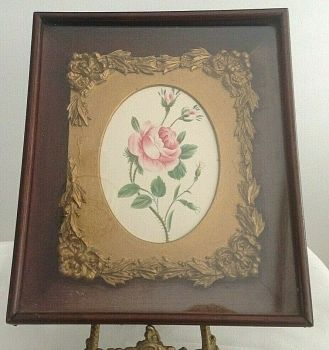 Antique Victorian painting rose botanical watercolour gesso frame shadow box