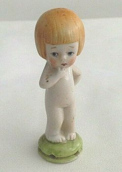 Antique ceramic half doll German little girl with bobbed hair