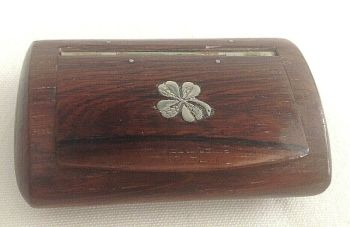 Antique treen wood snuff box with inlaid silver 4 leaf clover