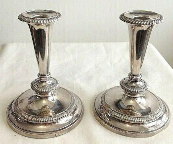 Antique Sheffield silver plate candlesticks candlestick pair Barker Ellis
