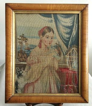 Antique Victorian needlepoint embroidery young girl with dog doves walnut frame