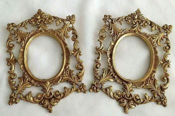 Antique gilt metal picture frame pair for portrait miniature