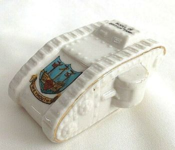 Antique WW1 crested china model of a British tank Weymouth crest Regis