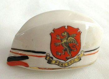 Antique WW1 crested china Scottish cap hat Porlock crest