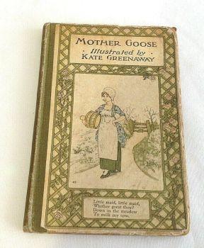 Antique Kate Greenaway book Mother Goose nursery rhymes christening present