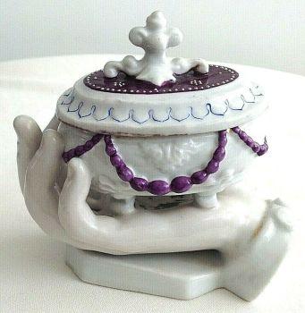 Antique Victorian German ceramic fairing hand trinket pot