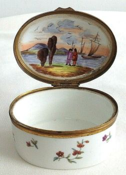 Antique 18th century Meissen table snuff box gilded mounts river & sailing ships