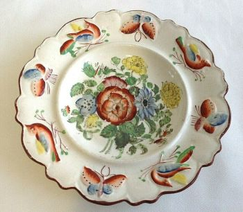 Antique early Victorian Staffordshire Toddy Plate flowers butterfly's birds