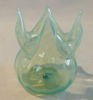 Antique Art Nouveau Vaseline glass vase