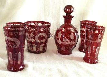 Antique acid etched ruby glass decanter ice bucket glasses