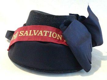 Vintage black woven straw Salvation Army hat bonnet