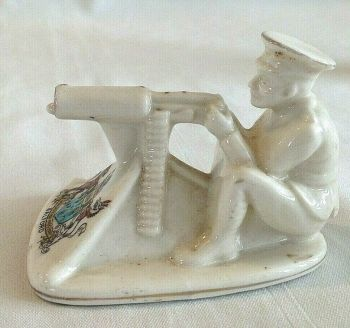 Antique WW1 crested china Tommy and his machine gun gunner Salford crest