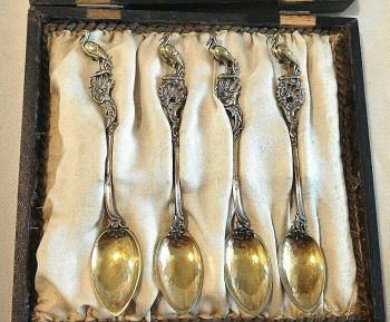 Antique boxed gilded stork hallmarked sterling silver spoons German Bruckmann