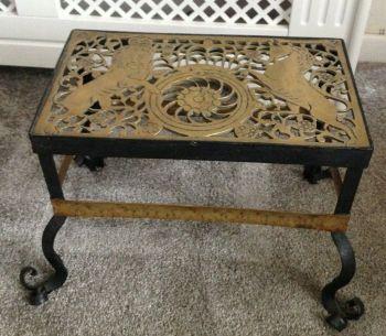 Antique Arts & Crafts brass & wrought iron trivet lion & Unicorn