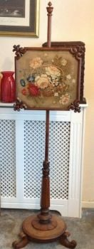 Antique rosewood carved wood pole screen wool work tapestry floral panel
