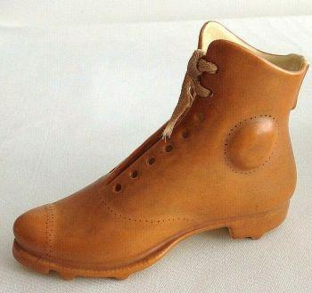Antique ceramic shoe boot rugby football German trinket pot