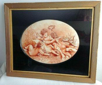 Antique Victorian sepia painting on porcelain plaque cherubs signed gilt frame