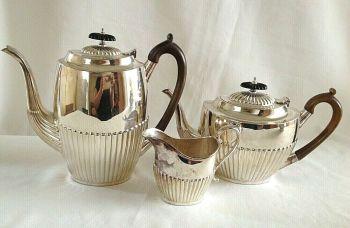 Antique Edwardian silver Plate tea pot coffee pot milk jug