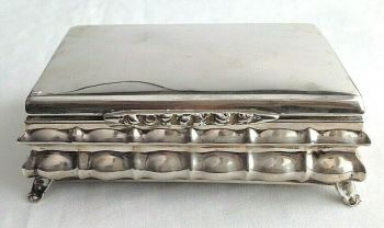 Antique continental sterling silver cigarette trinket or card box head stamp LM