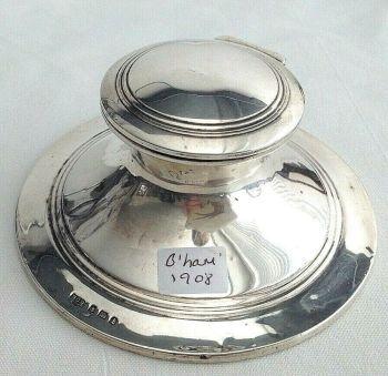 Antique Sterling Silver Edwardian ink well hallmarked 1908 Henry Clifford Davis