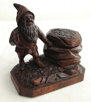 Antique carved wood Black Forest ink well inkwell gnome unusual