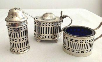 Antique silver cruet set hallmarked sterling silver 1920's