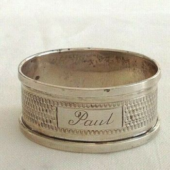 Antique Sterling Silver napkin ring hallmarked 1934 engraved Paul christening
