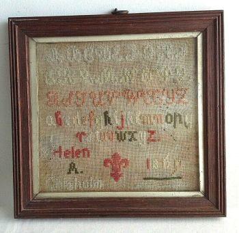 Antique Victorian needlework tapestry sampler Helen Chisholm 1869 A B C