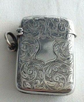 Antique Sterling Silver Victorian engraved vesta match safe hallmarked 1897
