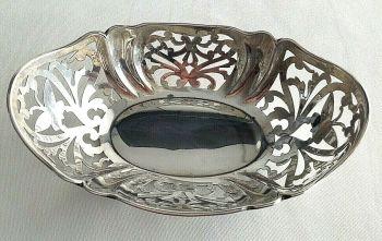 Antique Sterling Silver pierced work dish butterfly decoration hallmarked 1925